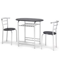 Topbuy 3 Piece Dining Set Modern Metal Frame Glass Top Table and 2 Chairs Set