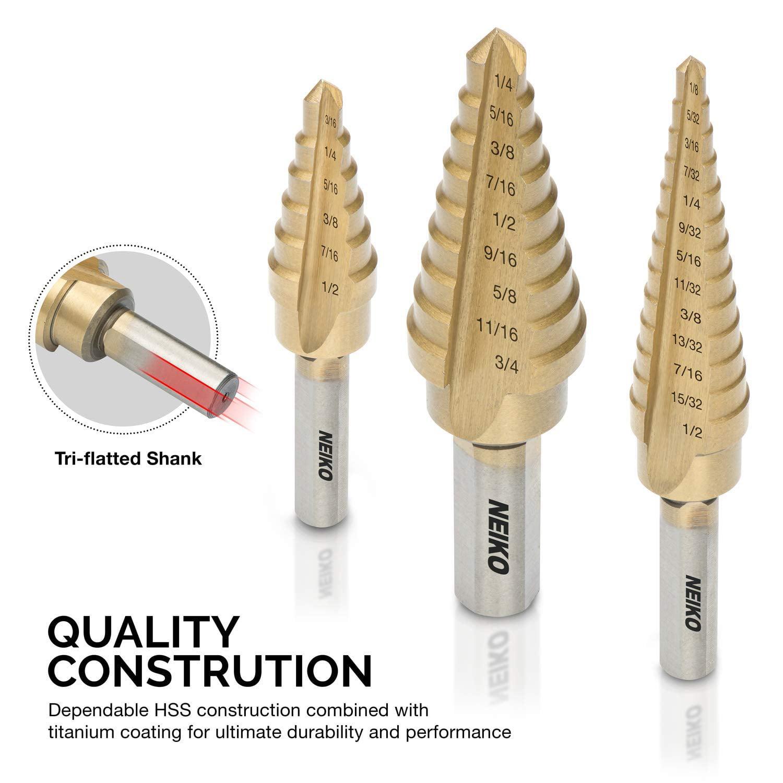 KONGZIR Drill 3pcs Nitrogen Step Drill Bit Set 3//16-1//2 1//4-3//4 3//16-7//8 Drill Accessories