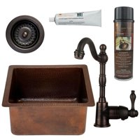 BSP4-BREC16DB-D Oil Rubbed Bronze 16 in.Gourmet Rectangular Hammered Copper Bar Prep Sink, Single Handle Bar Faucet, 3.5 in. Strainer Drain