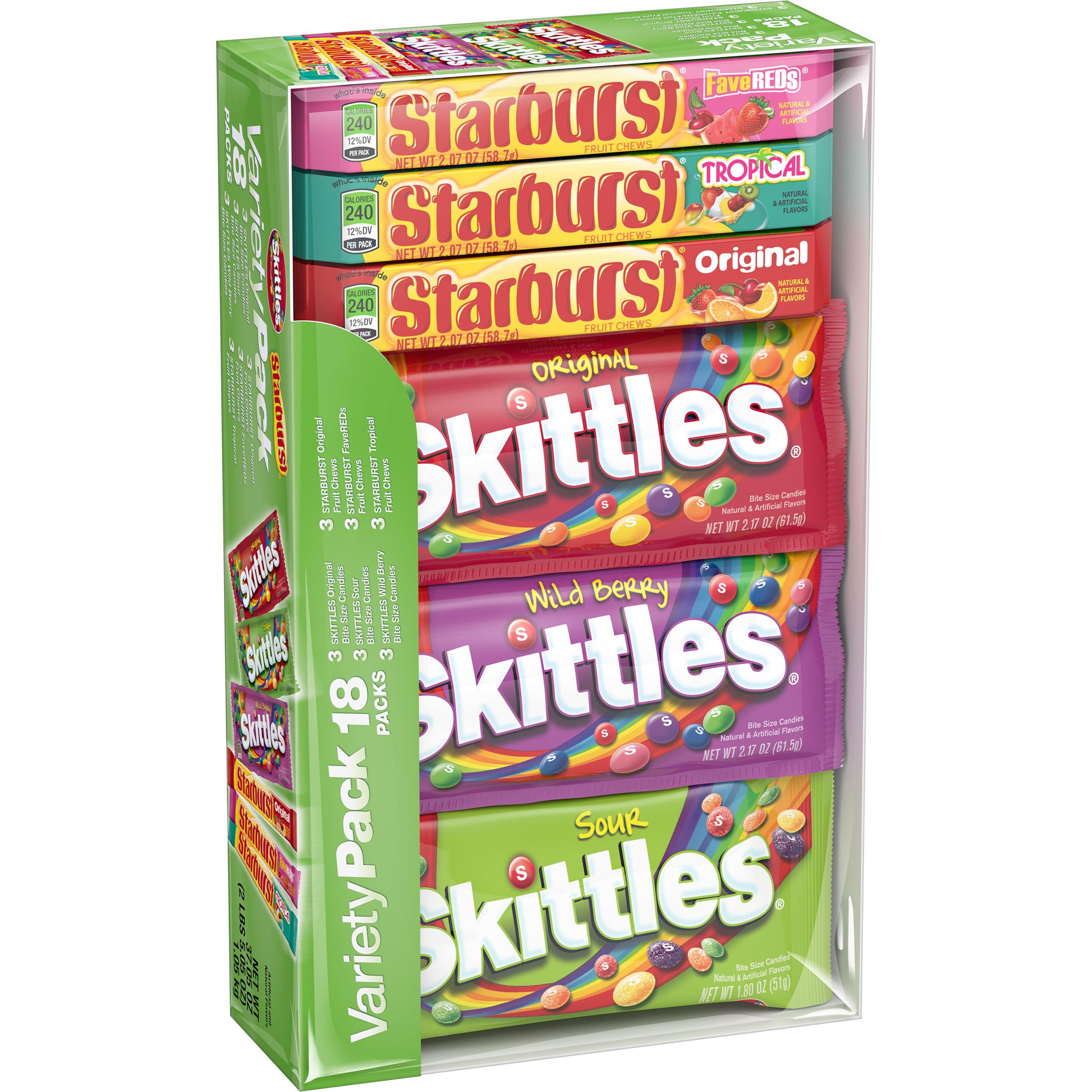 Skittles & Starburst Candy Variety Pack, 18 Single Packs