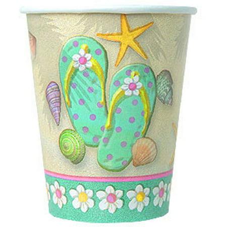 Summer 'Flip Flop Beach' 9oz Paper Cups (8ct)](Beach Cups)