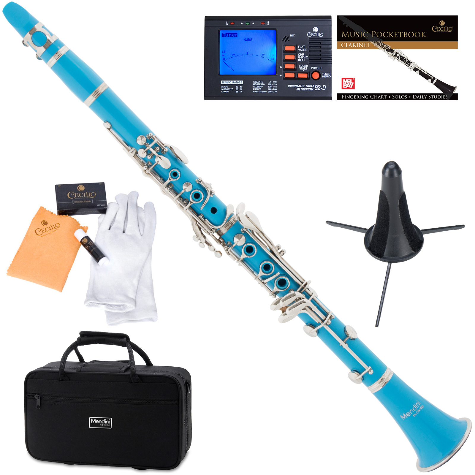Mendini by Cecilio MCT-SB Sky Blue ABS Bb Clarinet w/1 Year Warranty, Stand, Tuner, 10 Reeds, Pocketbook, Mouthpiece, Case, B Flat