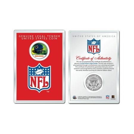 Military Coin Display - CHICAGO BEARS NFL Helmet JFK Half Dollar U.S. Coin w/ NFL Display Case LICENSED