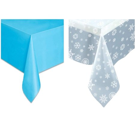 Snowflakes Plastic Tablecover Set - One Clear Tablecloth Clear Snowflakes Table Cover and One Solid Light Blue Plastic Tablecloth. - Blue Plastic Tablecloth