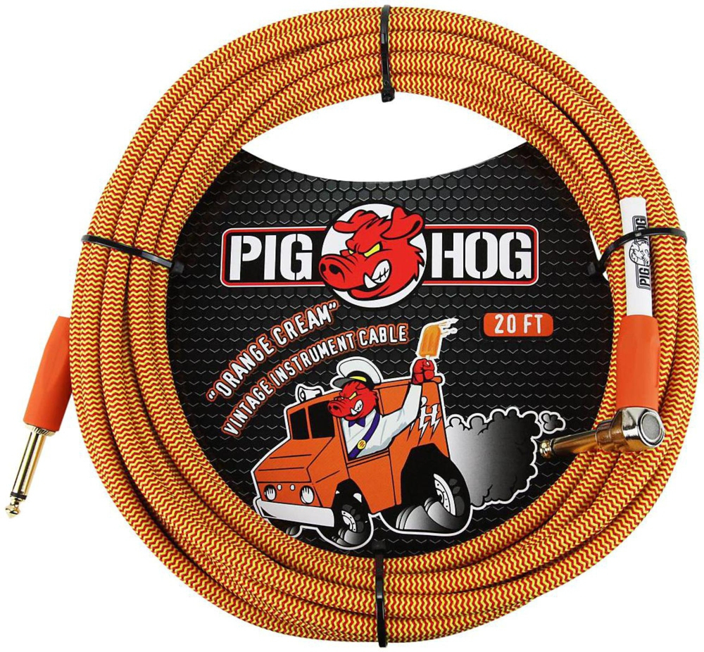 Pig Hog Right Angle Instrument Cable 20 ft. Orange Cream