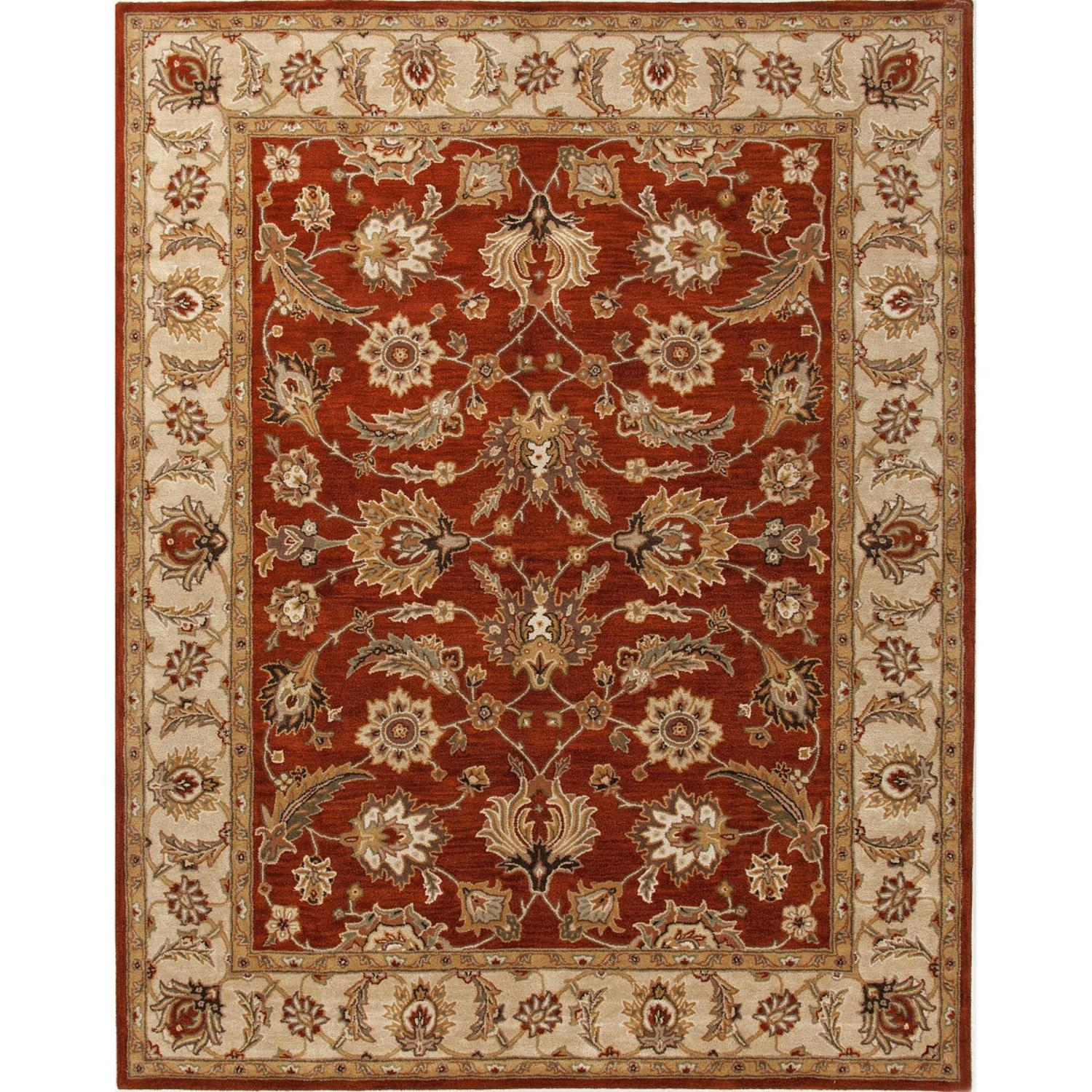 2' x 3' Cantolope Orange and Light Tan Selene Hand Tufted Wool Area Throw Rug