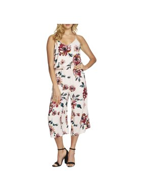 1.State Womens Floral Print V-Neck Jumpsuit Pink XS