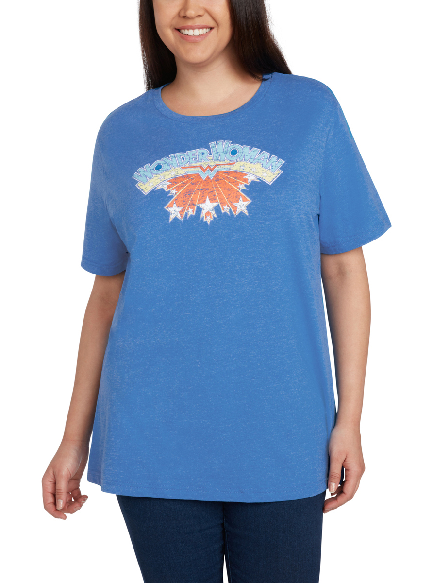 Plus Size Wonder Woman T-Shirt Logo Heather Blue