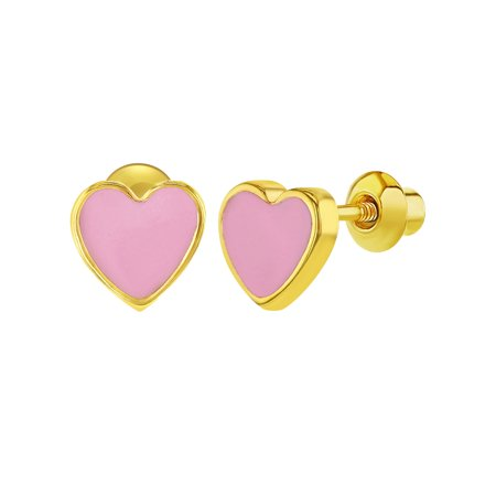 18k Gold Plated Pink Enamel Heart Girls Toddlers Screw Back Earrings