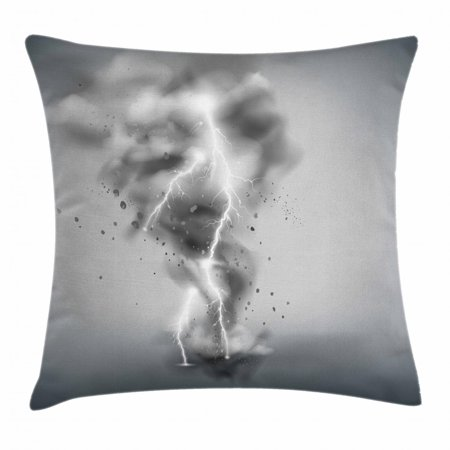 Tornado Throw Pillow Cushion Cover Scary Thunder In A Whirlwind Sky Scenery Bad Weather Ilration