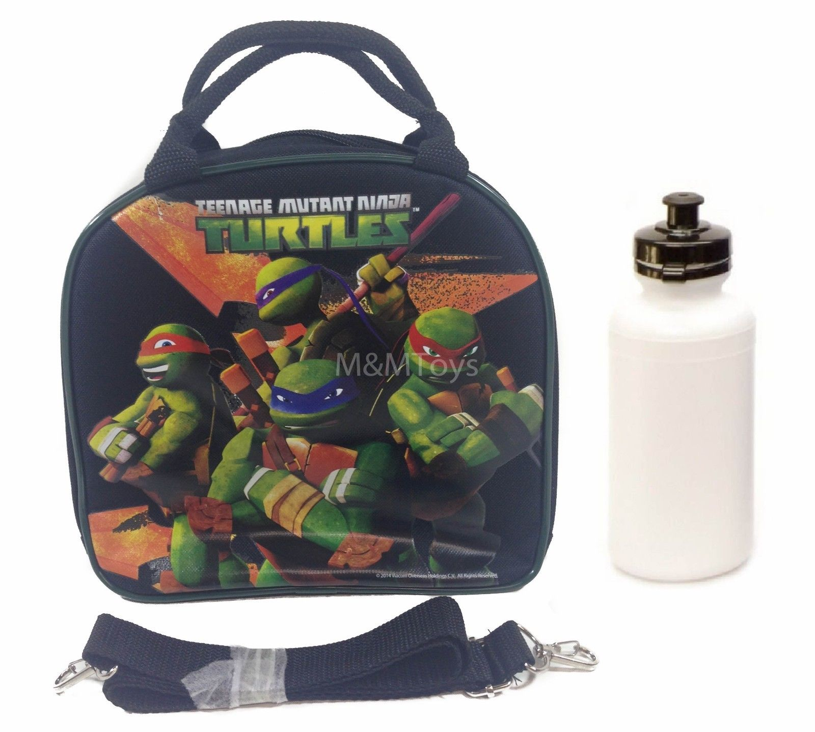 Ninja Turtle Lunch Box Bag with Shoulder Strap and Water Bottle by