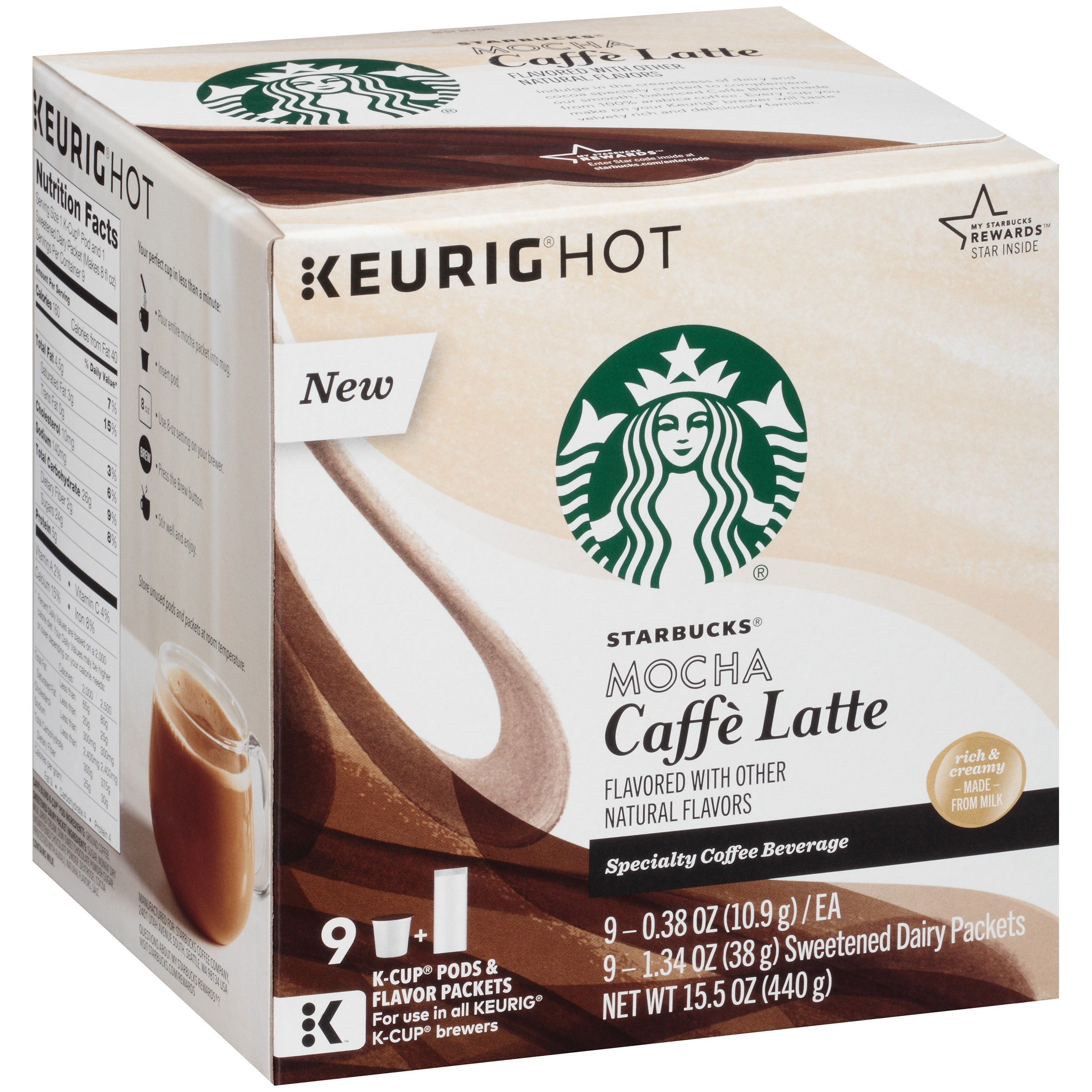 Starbucks® Mocha Caffè Latte Specialty Coffee Beverage K-Cups 15.5 oz. Box