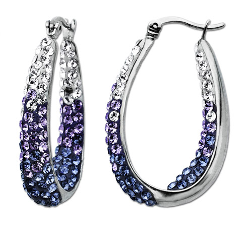 Luminesse Sterling Silver Purple Fade Hoop Earrings made with Swarovski Elements