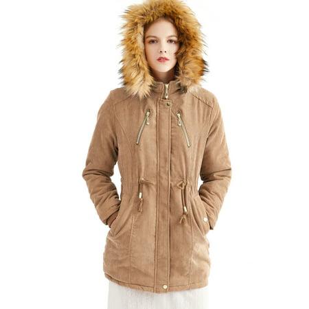 Fashion Women Winter Warm Fleece Fur Lined Parka Coat Jacket Ladies Thicken Hooded Parka Coat Faux Fur Zip Up Wool Blazer Overcoat Jacket Outdoor Trench Coat With Pockets Heavyweight Heavyweight Lined Parka