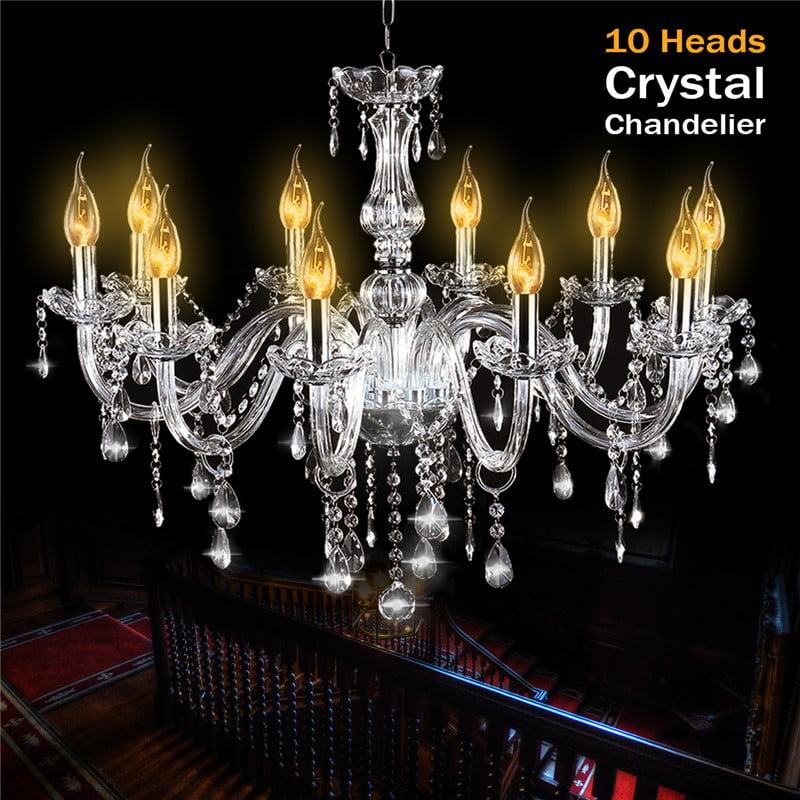 Elegant E12 Crystal 10 Candle Home Decor Chandelier Luxury Pendant Ceiling Lamp