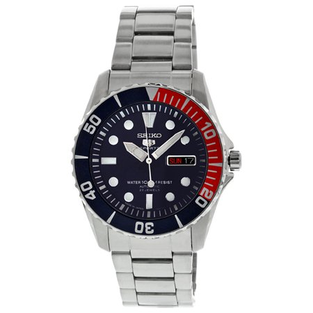Seiko Men's 5 Automatic Dark Blue Dial Stainless Steel Watch (Mens Steel Collection)