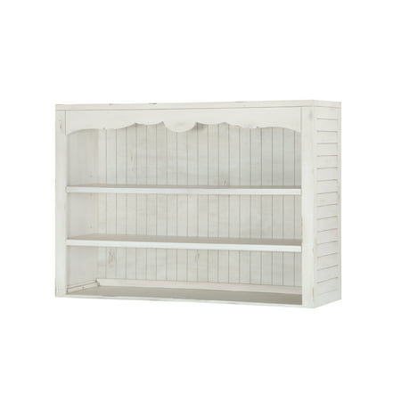 Emerald Home Abaco Country White Hutch with Open Shelving And Scalloped Top
