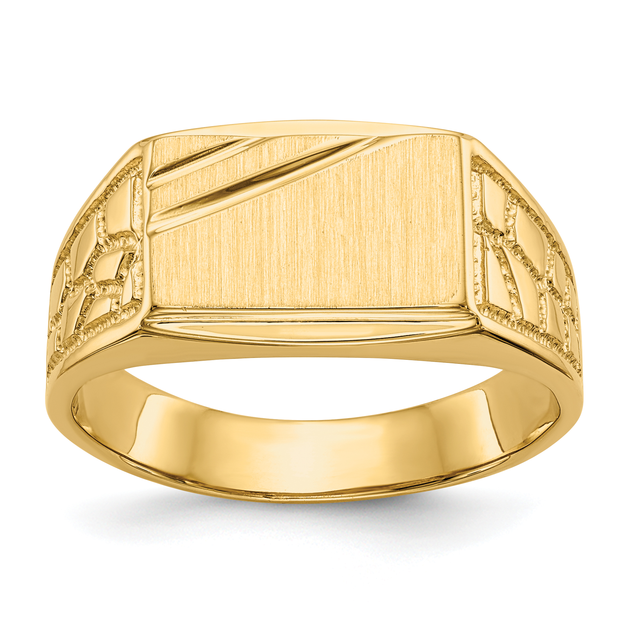 14k Yellow Gold Mens Signet Band Ring Size 10.00 Man Fine Jewelry Gift For Dad Mens For Him - image 5 de 5