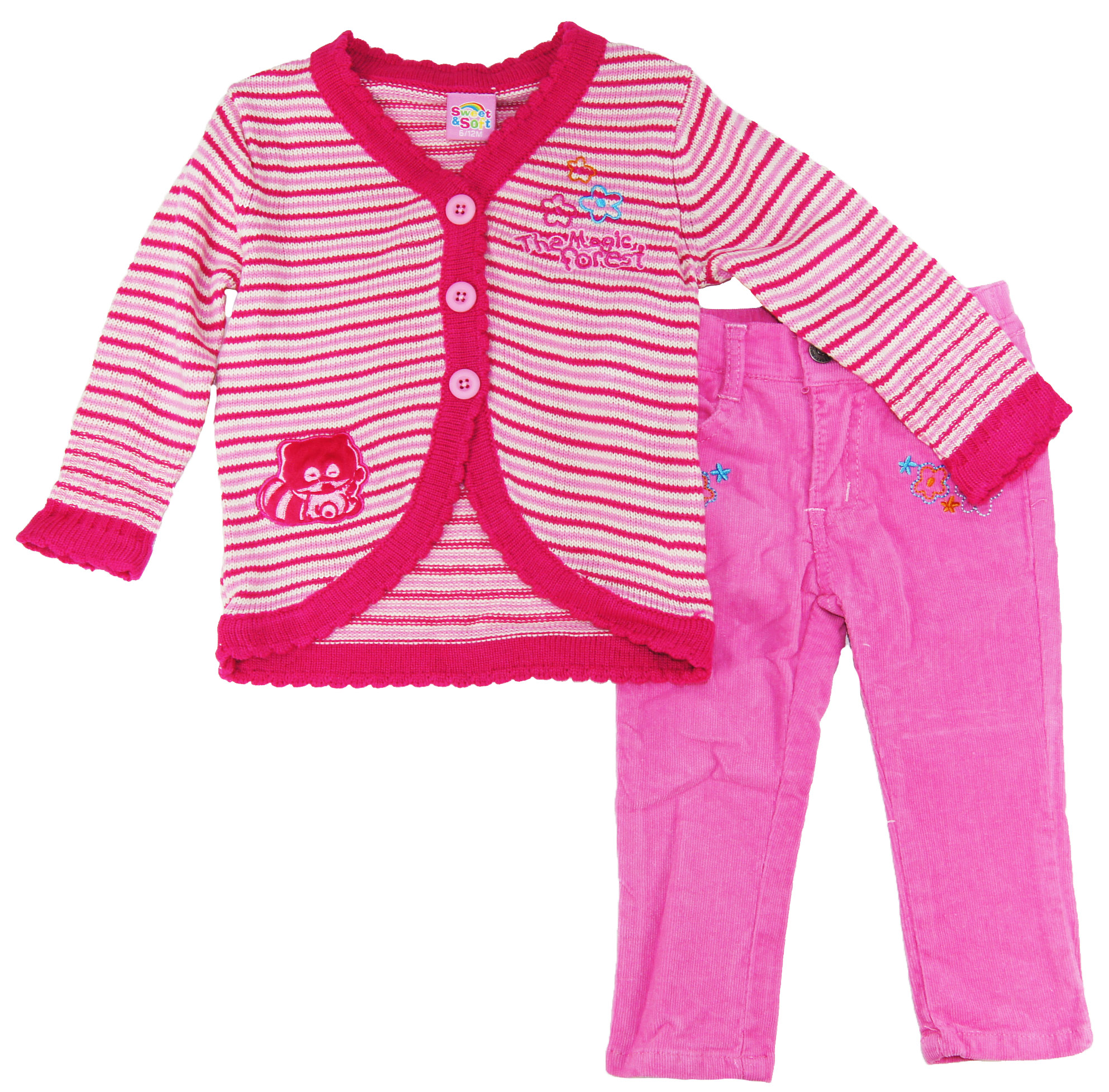 Sweet & Soft Little Girls' Magic Forest Cardigan with Corduroy Pants Set