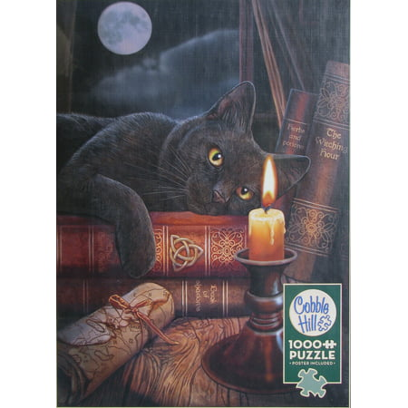Cobble Hill THE WITCHING HOUR 1000 pc Jigsaw Puzzle Library Black Cat - Puffles De Halloween
