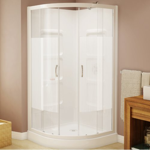Shower Bath Base a&e bath and shower mona 37.5'' x 74'' neo-angle sliding shower
