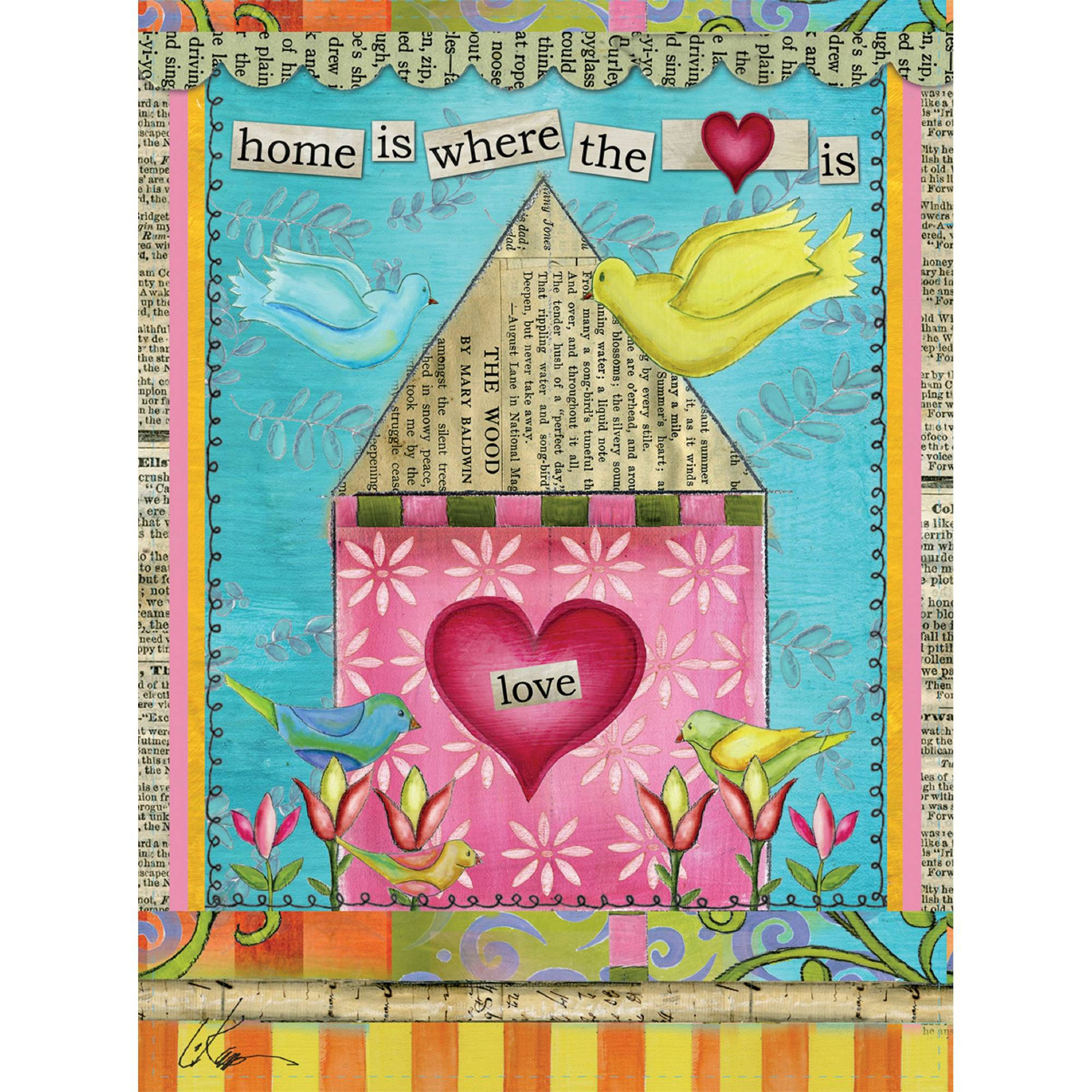 "Well Street by Lang ""Home Is Where The Heart Is"" Mini Garden Flag, 12"" x 18"""