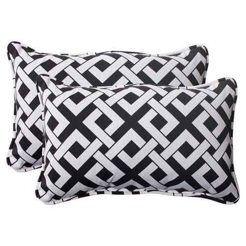 """Set of 2 Black and White Diamond Link Outdoor Rectangular Throw Pillows 18.5"""""""