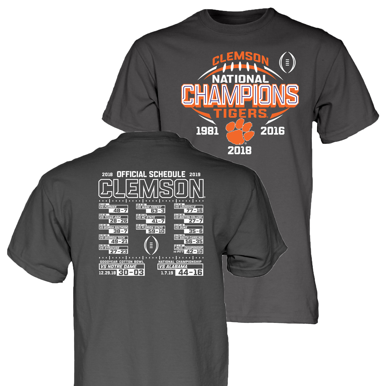 Clemson Tigers 2018-2019 Football National Champions Gray Short Sleeve T-Shirt