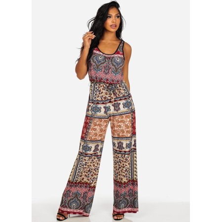 385018d54fa Womens Juniors Red Sleeveless Printed Wide Leg Jumpsuit 30489Y ...