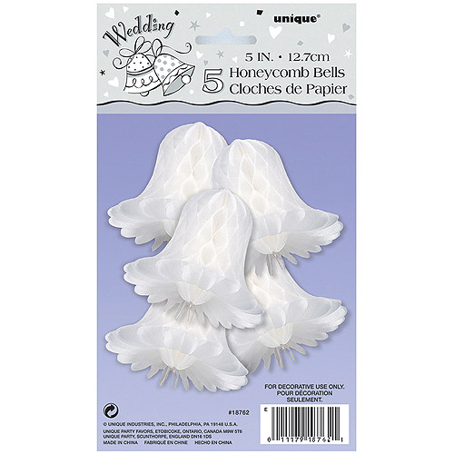 5'' White Bells Honeycomb Decorations, 5pk