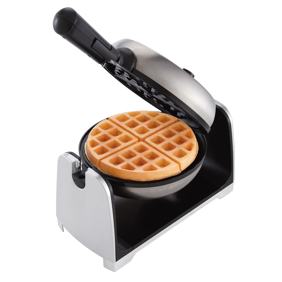 "Oster Stainless Steel Flip 1.5"" Thick Belgian Style Non Stick Plate Waffle Maker"