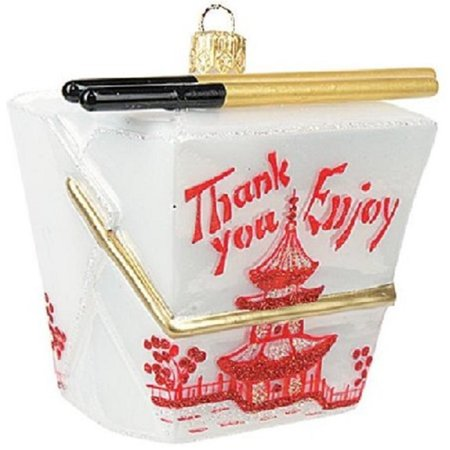 Chinese Take Out Box Polish Glass Christmas Ornament Fast Food Decoration New ()