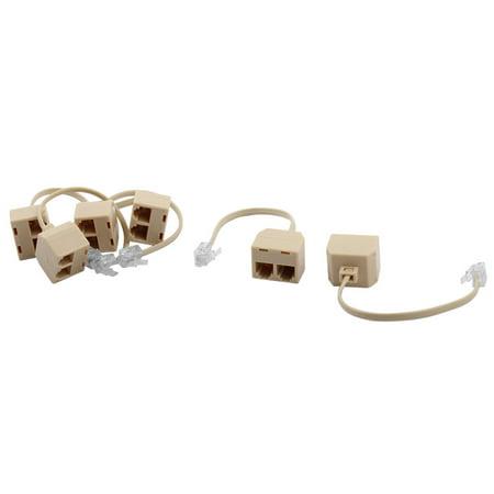 Keystone Phone - Telephone RJ11 6P4C Keystone 1 Male to 2 Female Plug Cord Adapter 6pcs