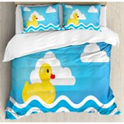 Ambesonne Rubber Duck Cute Children's Toy Figure on Wavy Water Inspired Stripes Clouds Duvet Cover Set