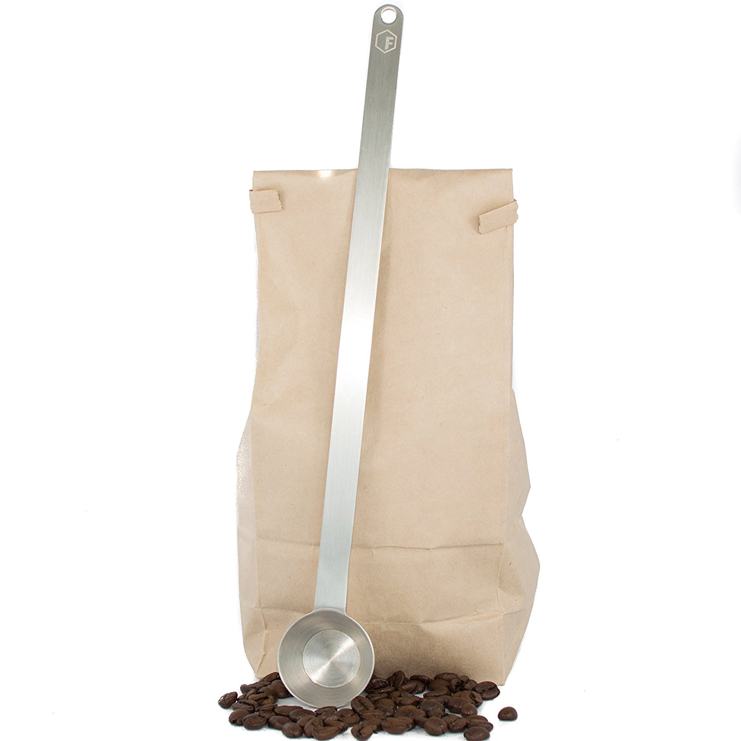 11.5' Extra Long Coffee Scoop 1 Tablespoon Premium Grade 18 8 Stainless Steel Reaches Bottom of Coffee Bags by Magnum Steel