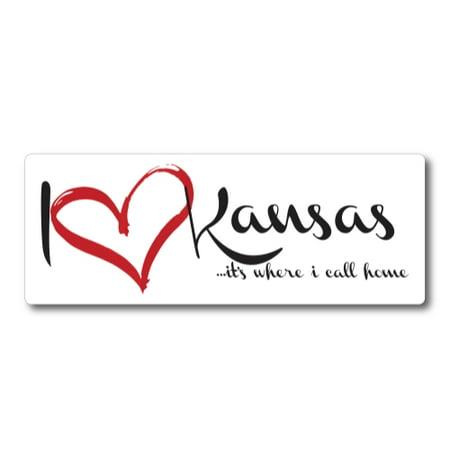 I Love (heart) Kansas, It's Where I Call Home Car Magnet 3X8