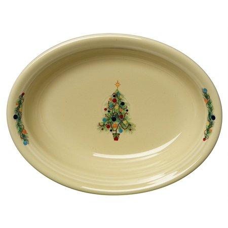 Fiesta Oval Vegetable Bowl, Christmas Tree, Made in the USA By Homer Laughlin (Oval Divided Vegetable Bowl)