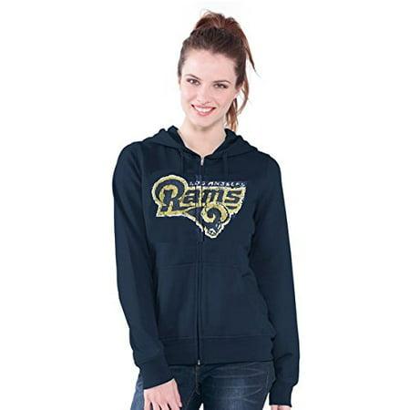 Los Angeles Rams Nfl Womens Distressed Team Logo Full Zip Up Hoodie  Small