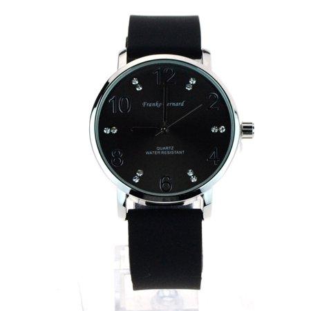 SA106 Womens Minimal Modern Silicone Round Rhinestone Analog Wrist Watch Black