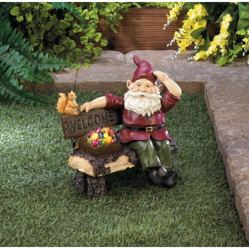 Summerfield Terrace 10018198 Solar Gnome On Welcome Bench - image 1 of 4