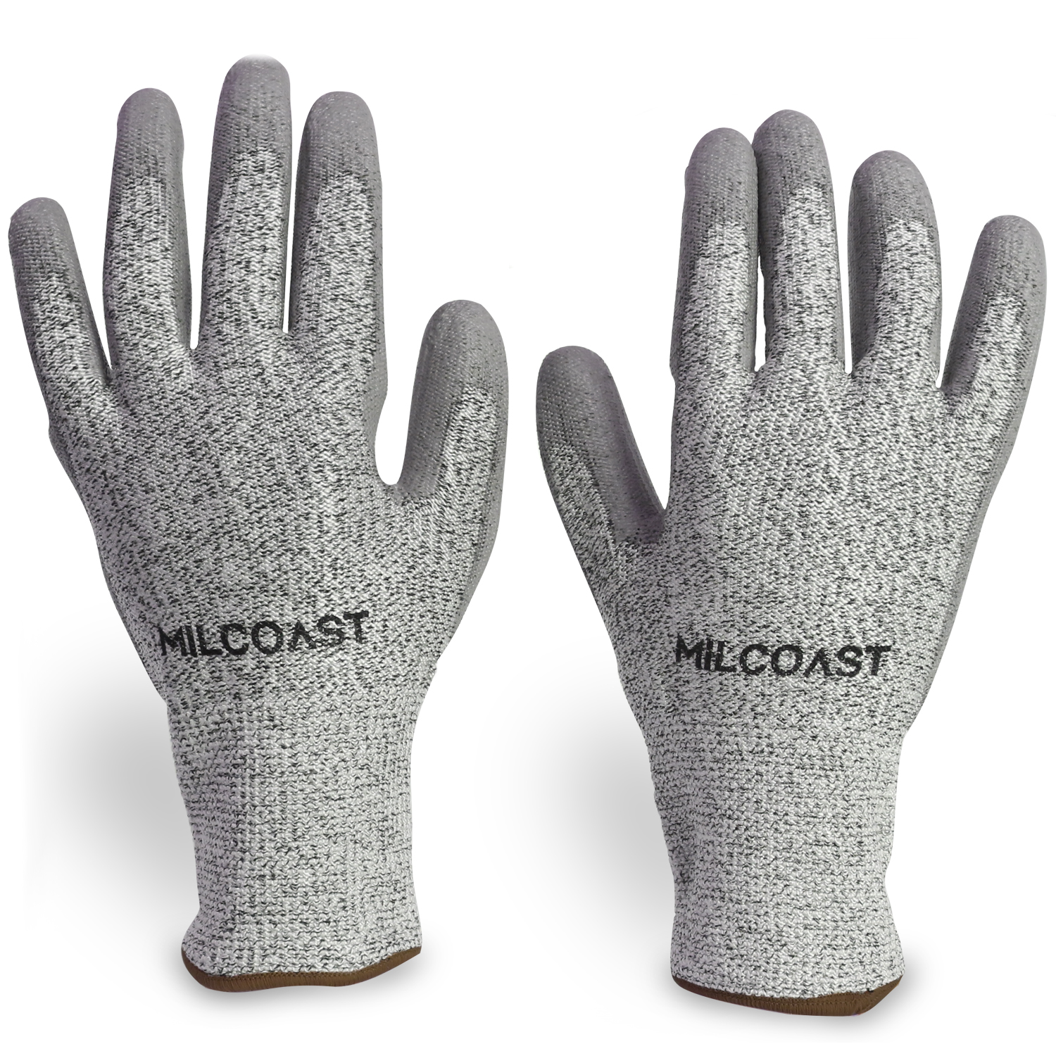 Milcoast Level 5 Cut Resistant Gloves - Polyurethane Palm Coated for Cutting, Kitchen, Garden, Work and Handling - Pack of 3 Pairs