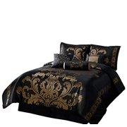Chezmoi Collection Ensemble d'édredon fleuri jacquard 7 pièces Ensemble lit dans un sac, grand lit, or noir