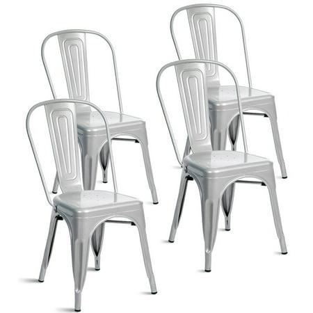 - Merax Indoor-Outdoor Use Metal Stackable Dining Chairs, Set of 4