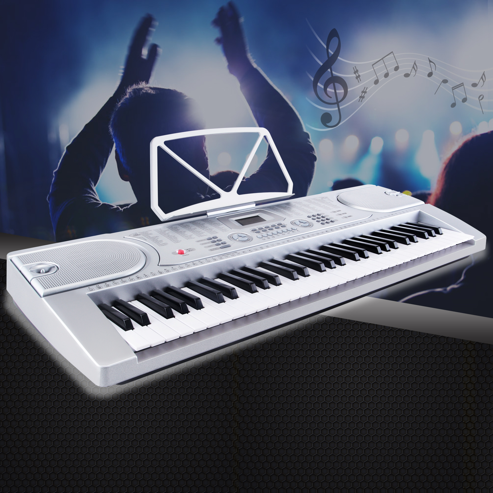 Uenjoy 61 Key Music Electronic Keyboard Digital Piano Organ w/Microphone/Power Supply,Silver