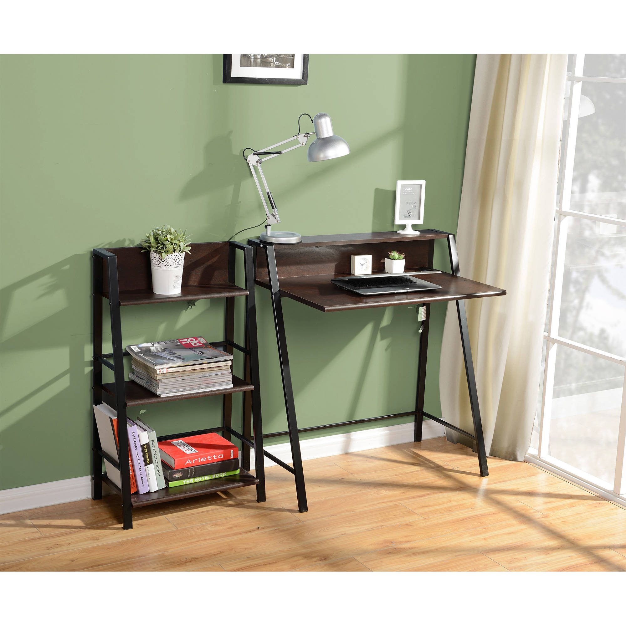 mainstays 2 tier writing desk multiple finishes walmartcom