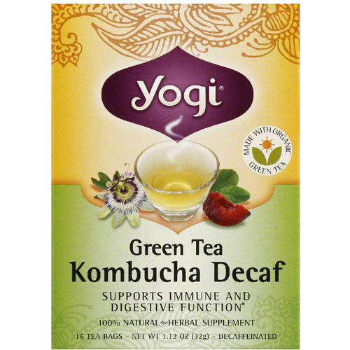 Yogi Kombucha Decaf Green Tea Herbal Supplement Tea Bags, 1.12 oz, 16 count, (Pack of 6)