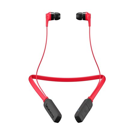 Skullcandy Ink'd Bluetooth Wireless Earbuds In-Ear Earbud Headphones with Microphone, Noise Isolating Supreme Sound, Rechargeable Battery, Lightweight with Flexible Collar, Red (New Open