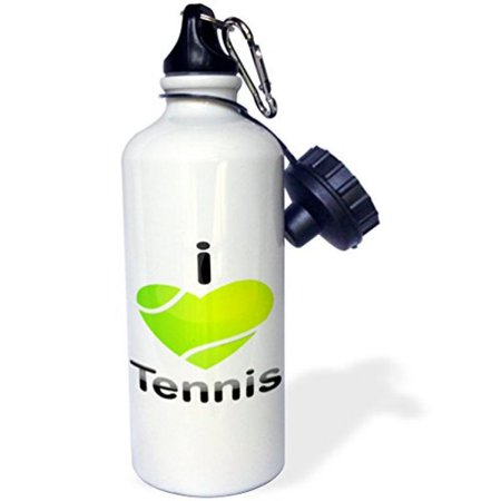 Heart Shaped Bottle (3dRose I Love Tennis With A Green Heart Shaped Tennis Ball, Sports Water Bottle, 21oz )
