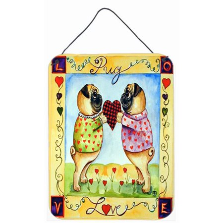 Carolines Treasures 7046DS1216 Pug LOVE Pug Aluminium Metal Wall Or Door Hanging Prints - image 1 of 1
