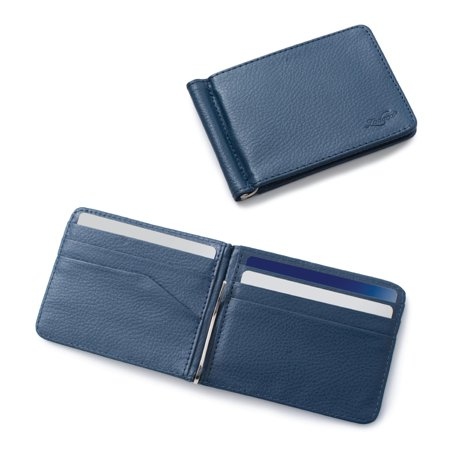 Zodaca Mens Stylish Thin Leather Wallet Bifold Slim ID Credit Card Holder with Removable Money Clip - Dark Blue Billfold Credit Card Holders